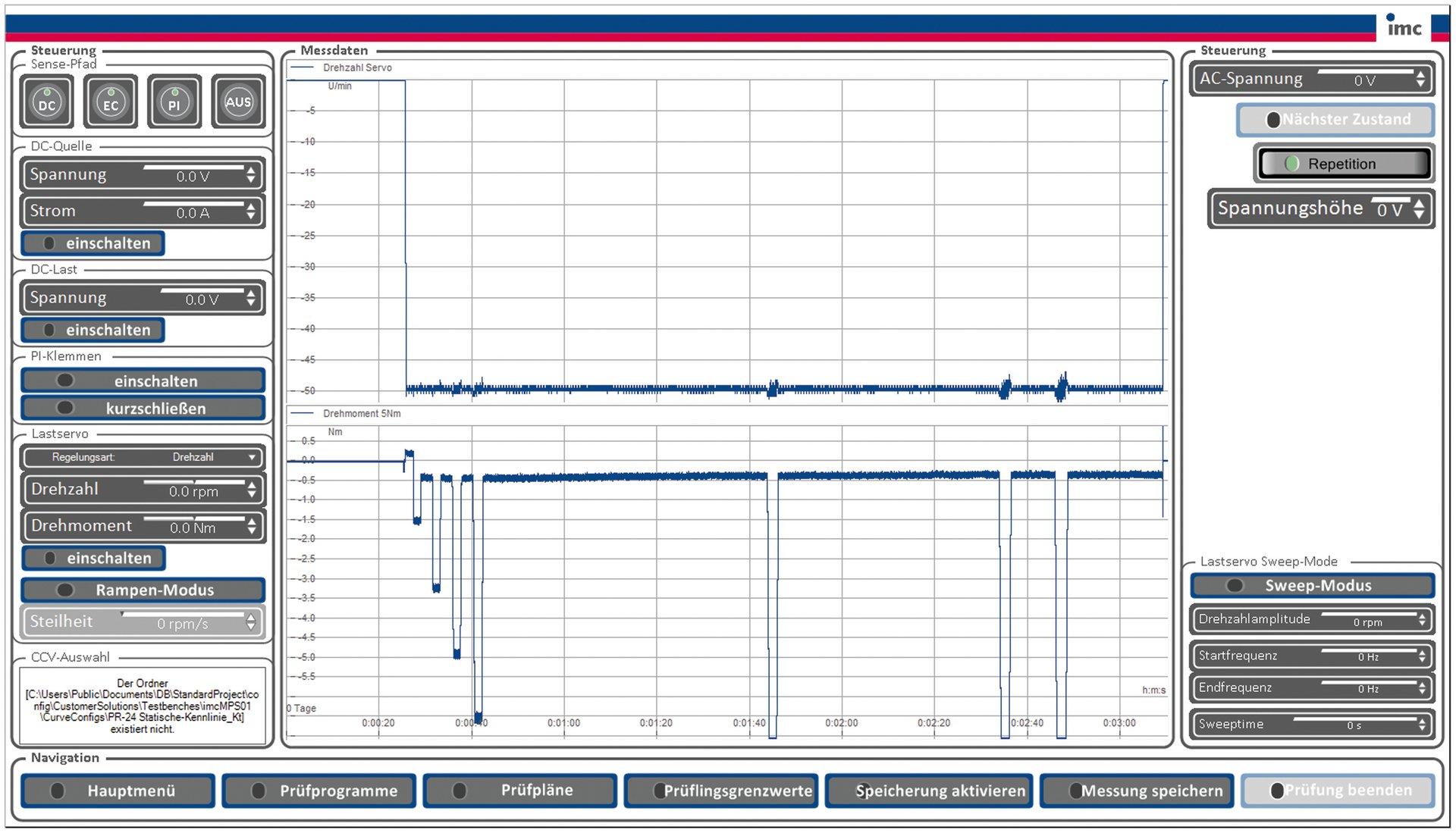 Development test stands for E-motors - imc Test